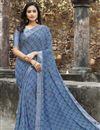 image of Blue Color Regular Wear Georgette Fabric Simple Printed Saree