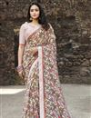 image of Casual Wear Georgette Fabric Simple Printed Saree In Beige Color