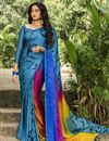 image of Crepe Silk Fabric Regular Wear Multi Color Printed Saree