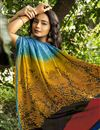 photo of Multi Color Puja Wear Printed Saree In Crepe Silk Fabric