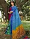 image of Multi Color Puja Wear Printed Saree In Crepe Silk Fabric