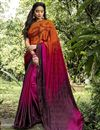 image of Multi Color Casual Printed Saree In Crepe Silk Fabric