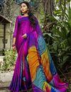 image of Multi Color Puja Wear Printed Saree In Crepe Silk Fabric