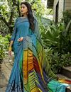 image of Printed Crepe Silk Fabric Fancy Saree In Multi Color