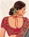 photo of Festive Wear Grey Color Designer Art Silk Fabric Saree With Embroidered Blouse
