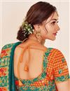 photo of Teal Color Sangeet Wear Art Silk Fabric Designer Saree With Embroidered Blouse