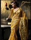image of Embroidered Designer Yellow Saree