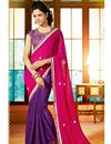 image of Formidable Pink And Purple Color Designer Saree