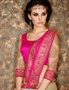 photo of Sangeet Function Wear Pink And Cream Color Net And Georgette Fabric Fancy Embellished Saree With Designer Blouse