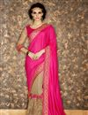 image of Sangeet Function Wear Pink And Cream Color Net And Georgette Fabric Fancy Embellished Saree With Designer Blouse