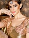 photo of Wedding Wear Designer Peach And Beige Color Net And Georgette Fabric Embroidered Saree With Fancy Blouse