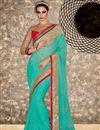 image of Wedding Function Wear Cyan Color Georgette And Chiffon Fabric Designer Saree With Embroidered Blouse