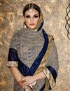photo of Designer Grey Color Georgette Fabric Function Wear Embellished Saree With Fancy Blouse