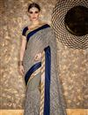 image of Designer Grey Color Georgette Fabric Function Wear Embellished Saree With Fancy Blouse