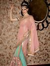 image of Wedding Wear Pink And Cyan Color Net And Georgette Fabric Fancy Designer Saree With Embroidered Blouse