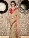 image of Wedding Wear Designer Cream Color Georgette Fabric Embroidered Saree With Fancy Blouse