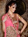 photo of Wedding Function Wear Pink Color Chiffon Fabric Designer Saree With Embroidered Blouse