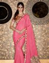 image of Wedding Function Wear Pink Color Chiffon Fabric Designer Saree With Embroidered Blouse