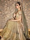 photo of Wedding Wear Cream Color Georgette And Chiffon Fabric Fancy Designer Saree With Embroidered Blouse