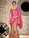 image of Sangeet Function Wear Pink And Cream Color Net And Chiffon Fabric Fancy Embellished Saree With Designer Blouse