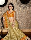 photo of Designer Function Wear Cream Color Georgette Fabric Fancy Saree With Embellished Blouse