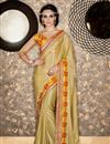 image of Designer Function Wear Cream Color Georgette Fabric Fancy Saree With Embellished Blouse