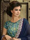 photo of Ravishing Navy Blue And Green Color Designer  Sari