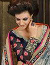 photo of Lavishing Grey And Navy Blue Color Designer Saree_
