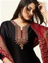photo of Black Color Party Wear Designer Patiala Suit In Cotton Silk Fabric With Banarasi Dupatta