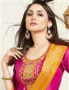 photo of Occasion Wear Cotton Silk Fabric Patiala Salwar Kameez In Rani Color With Banarasi Dupatta