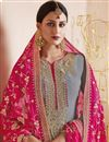 photo of Grey Georgette Designer Straight Cut Suit With Embroidered Dupatta