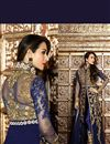 picture of Malaika Arora Embroidered Designer Georgette Salwar Suit in Blue Color