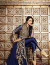 image of Malaika Arora Embroidered Designer Georgette Salwar Suit in Blue Color