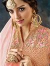 photo of Net Fabric Fancy Long Floor Length Designer Embellished Anarkali Suit In Pink