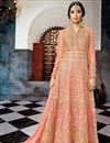 image of Net Fabric Fancy Long Floor Length Designer Embellished Anarkali Suit In Pink
