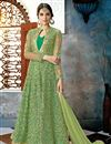 image of Party Wear Embellished Net Fabric Fancy Green Long Floor Length Anarkali Suit