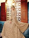 photo of Sangeet Wear Net Fabric Dark Beige Floor Length Fancy Embroidered Anarkali Dress