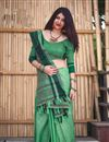 image of Cotton Casual Party Wear Dark Green Saree