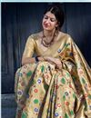 photo of Function Wear Cream Weaving Work Saree In Art Silk Fabric With Party Wear Blouse