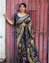 image of Weaving Work Black Art Silk Designer Saree With Mesmerizing Blouse