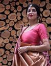 photo of Art Silk Pink Party Wear Saree With Weaving Work And Beautiful Blouse
