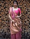 image of Art Silk Pink Party Wear Saree With Weaving Work And Beautiful Blouse