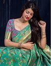photo of Dark Green Weaving Designs On Art Silk Occasion Wear Saree With Gorgeous Blouse