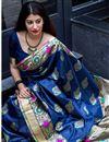 photo of Weaving Work Work On Art Silk Navy Blue Designer Saree Wth Captivating Blouse