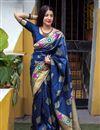 image of Weaving Work Work On Art Silk Navy Blue Designer Saree Wth Captivating Blouse