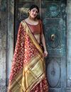 image of Art Silk Maroon Party Wear Saree With Weaving Work Designs And Tempting Blouse