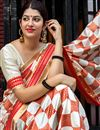 photo of Weaving Work On Off White Designer Saree In Art Silk Fabric With Attractive Blouse