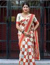 image of Weaving Work On Off White Designer Saree In Art Silk Fabric With Attractive Blouse