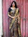 image of Art Silk Fabric Party Wear Weaving Work Saree In Black With Designer Blouse