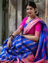 photo of Blue Art Silk Fabric Occasion Wear Saree With Weaving Work And Elegant Blouse